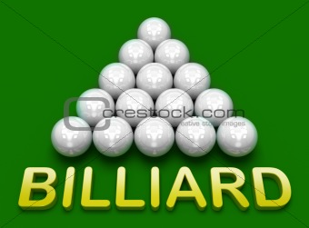 Billiard 3D concept. Russian pyramid