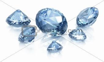 Diamonds set. Isolated on white