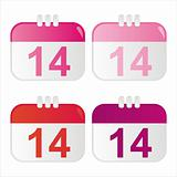 st. valentine's day calendar icons
