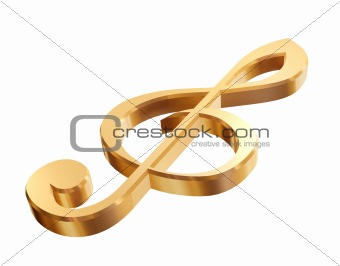 3d gold treble clef