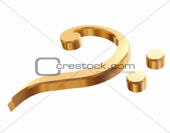 3d gold bass clef