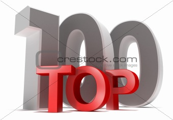 Top 100. 3D concept. Isolated on white