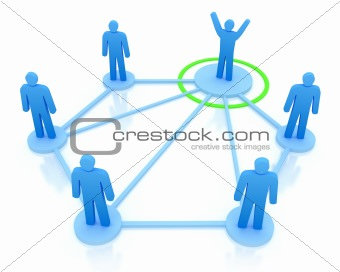 Leader is managing his work team. Network concept. Isolated on white
