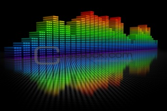 3D Equalizer Display. Isolated on black