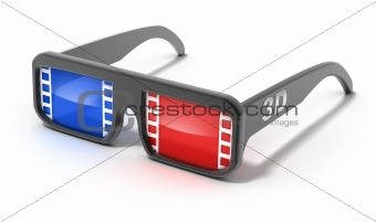 3D glasses with film concept. Isolated on white