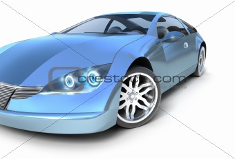 Hybrid sport car. Front view. Isolated on white