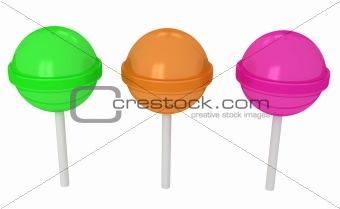 3d colorful sweet lollipops