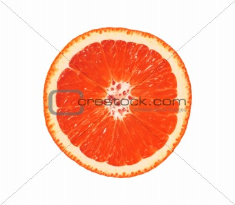 Close up of sliced pink grapefruit isolated on white background