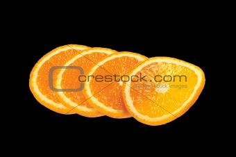 Sliced fresh orange isolated on black