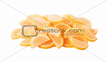 close up colorful jelly candies isolated on white background