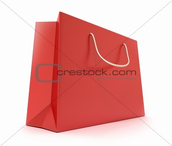 Red Shopping Bag. Clean cover. Isolated on white