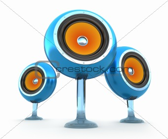 Modern speakers. 3D Concept. Isolated on white