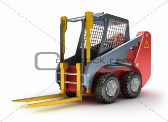 Forklift machine. Isolated on white