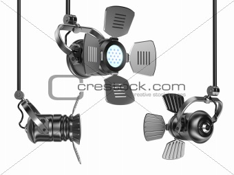 Spotlights set isolated on white. 3D render. Isolated on white