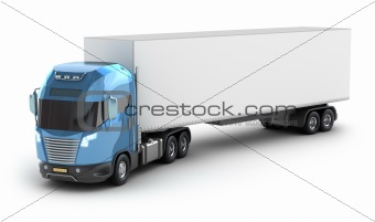 Modern truck with cargo container, My own Design. Isolated on white.