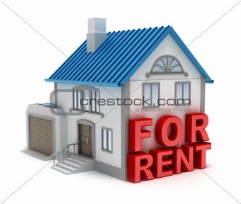 Home for rent. 3D concept. Isolated on white