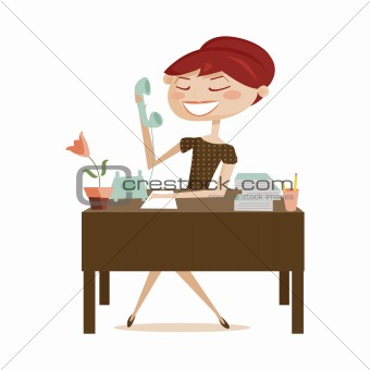 Retro woman working, isolated
