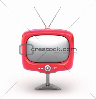 Red retro TV Set. Isolated on white
