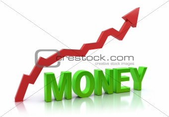 Money and increasing graph. 3D concept. Isolated on white