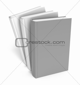 Books over white. Clear cover. Isolated on white