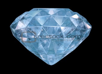 Blue diamond with soft edges. 3D image isolated on black