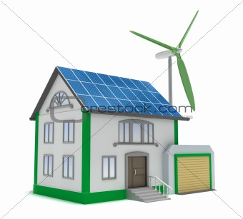 Eco house isolated 3D concept. My own design. Isolated on white
