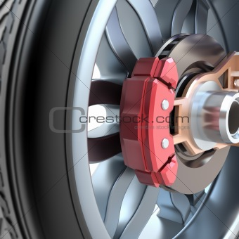 Wheel and brake pads.