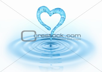 Waterdrop and Heart. 3D concept. Isolated on white