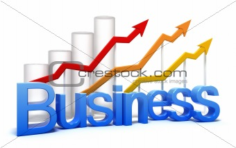 Business graph concept. Isolated on white