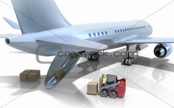 Forklift is loading the airplane. 3D image. Isolated on white