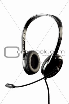 Black stylish headphone with microphone
