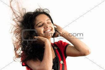 Indian girl enjoying music