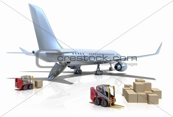 Airport : forklifts is loading the airplane isolated on white