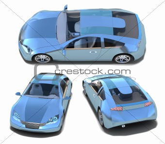 Blue sport cars set. My own design isolated on white