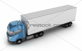 Modern truck with cargo container. Isolated on white.