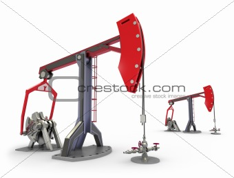 Oil Rig : Pump jacks isolated on white