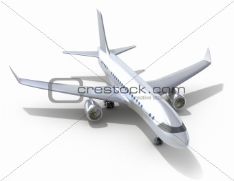 Airplane on white background. 3D image. My own design
