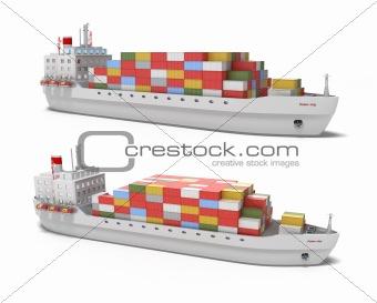Cargo ship on white background , 3D image