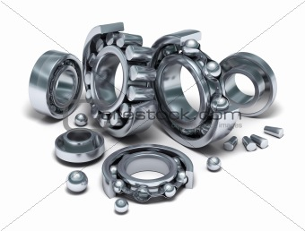 Sliced Bearings set and details. 3D image. Isolated on white