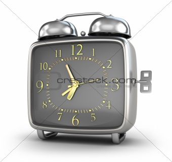 Alarm clock. Isolated on white 3d render