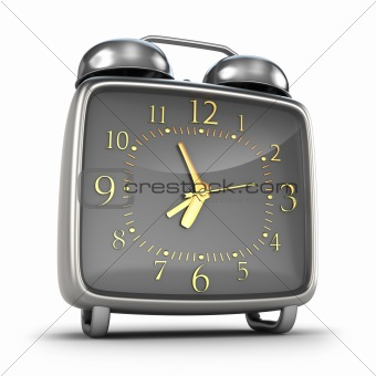 Alarm clock. Isolated on white 3d render. Isolated on white