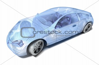 Car design, wire model. My own design. Isolated on white