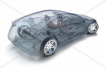 Car design, wireframe model. My own design. Isolated on white 3d image