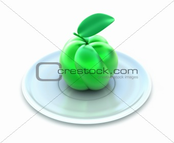 Green apple on white plate. Isolated on white