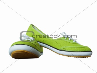 Green fabric shoes