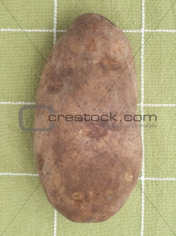 Potato on Green Kitchen Towel