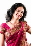 Beautiful Indian happy  woman in pink sari