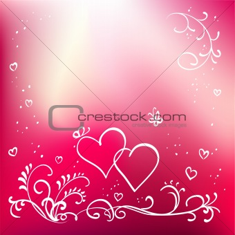 Abstract painted vector floral background, valentine's day elements