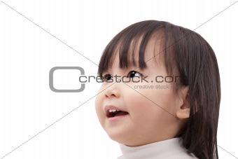 Asian little girl looking and smiling isolated on white background