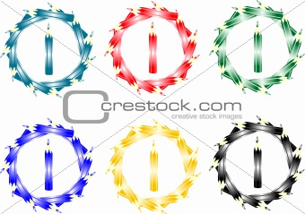 abstract button of colored pencils isolated on white